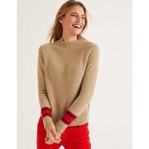 BODEN cashmere flora camel sweater XL